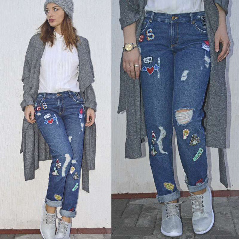 zara patched boyfriend jeans denim ripped oversized small. Black Bedroom Furniture Sets. Home Design Ideas