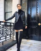 jacket,black jacket,biker jacket,faux leather,over the knee,thigh high boots,black boots,turtleneck dress,black dress,mini dress,earrings