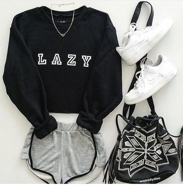 Shorts Sweater Outfit Nike Adidas Cute Comfy Lazy