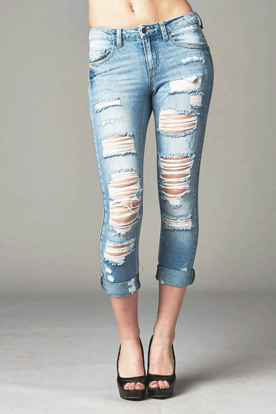 best price stylish design online Cello Distressed Slim Straight Boyfriend Jeans