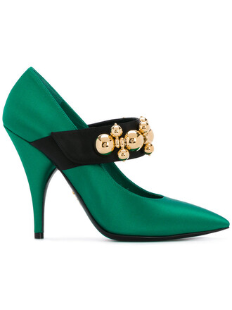 women embellished pumps leather green shoes