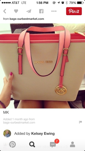 bag michael kors handbag mk handbags mk pink and white