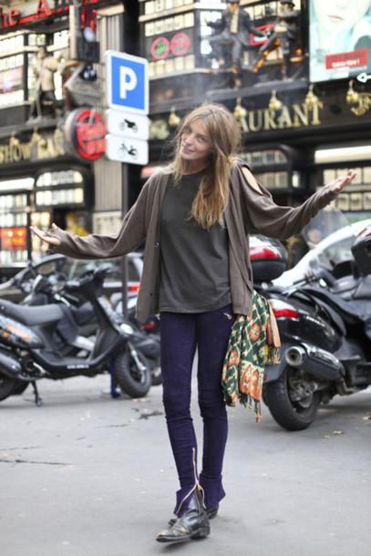 daria werbory brown sweater sweater jeans pants zip