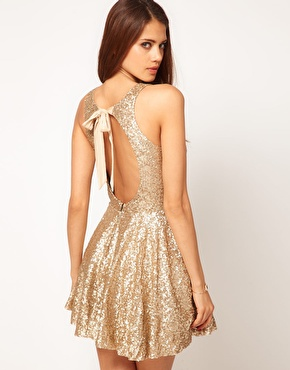 TFNC | TFNC Sequin Dress with Open Back & Full Layered Prom Skirt at ASOS
