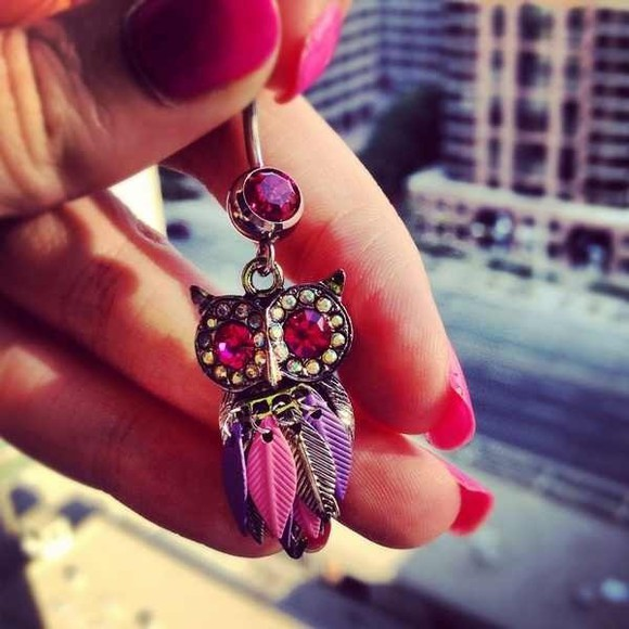 jewels owl belly button ring