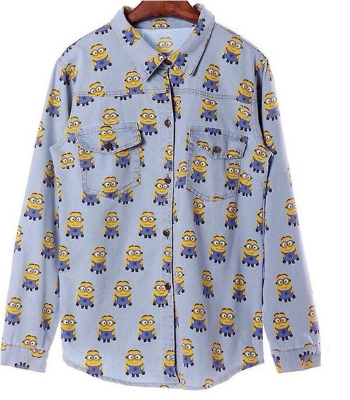 denim blouse shirt minion minions