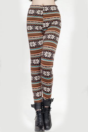 Stylish Folky Print Snowflake Legging [FBBI00135]- US$ 5.76 - PersunMall.com