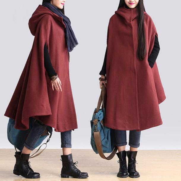 coat hooded cape coat orange red wool coat
