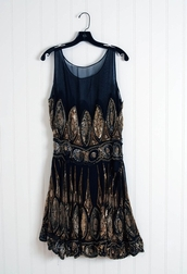 dress,black dress,gold,sequin dress,black,sequins,cute dress,mesh,vintage,little black dress,glitter dress,blue dress,high-low dresses,summer dress,vintage dress,the great gatsby,glitter navy blue dress,beaded,beaded dress,full beaded dress,cute,1920s,gold sequins,short party dresses,black and gold,black and gold dress.
