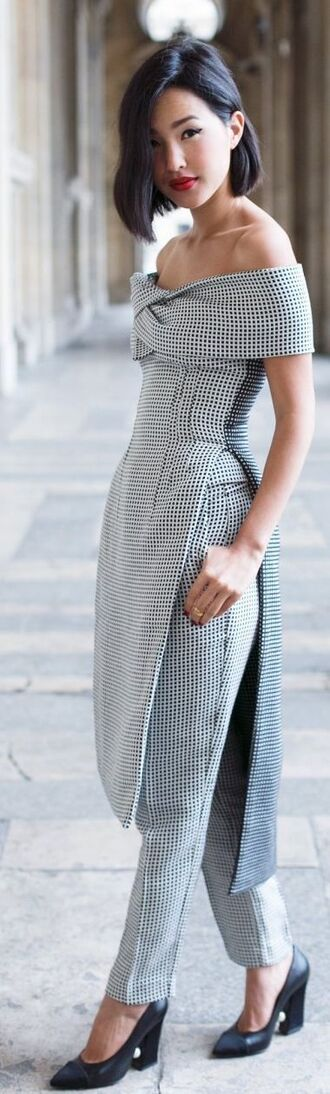 tailoring gingham pumps gary pepper girl off the shoulder slit grey pants grey top grey heels office outfits two-piece