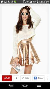 skirt,metallic,cut-out,circle skirt,metalic gold,skater skirt,high waisted skirt,sunglasses,sweater