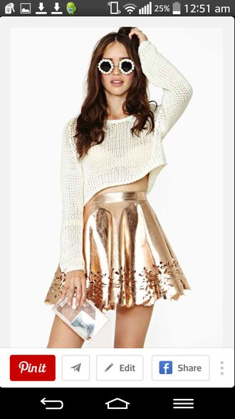 skirt metallic cut-out circle skirt metalic gold skater skirt high waisted skirt sunglasses sweater