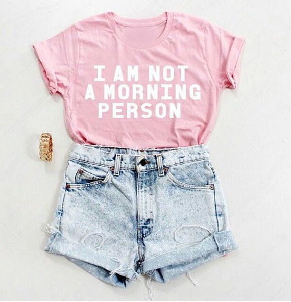 I am not a morning person light pink t