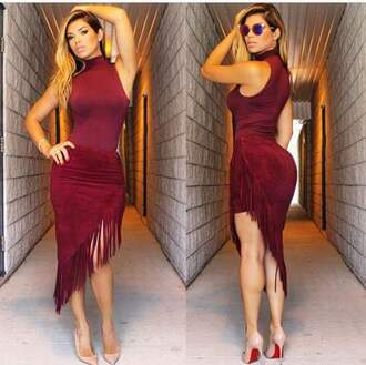 skirt suede skirt fringe skirt burgundy skirt