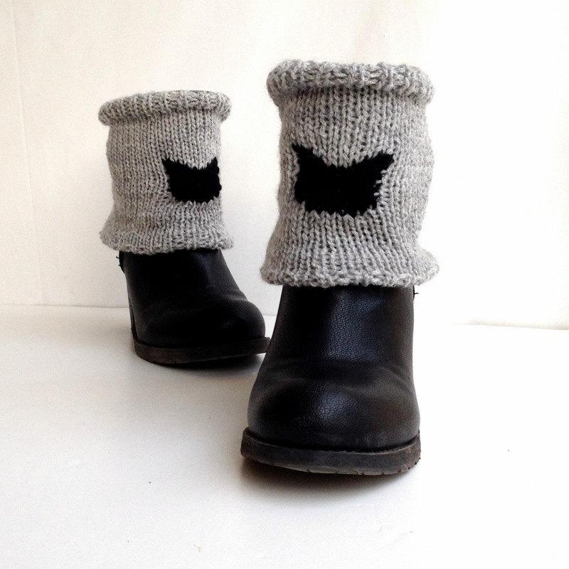 Black cat . knit leggings winter fashion short knit leg warmers knit cat boot cuffs women shoe accessories black friday sale senoaccessory