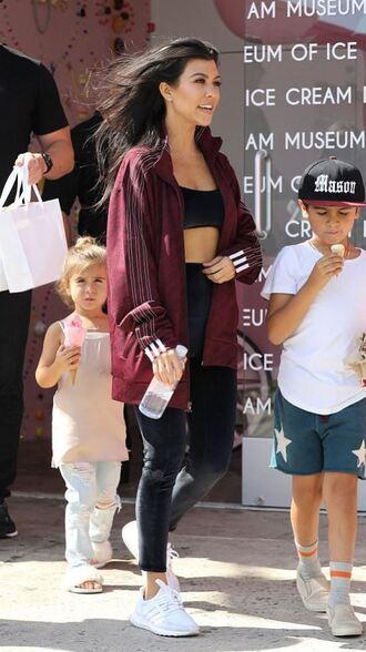 jacket kourtney kardashian sneakers top sports bra