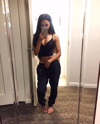 pants joggers black cute style dope
