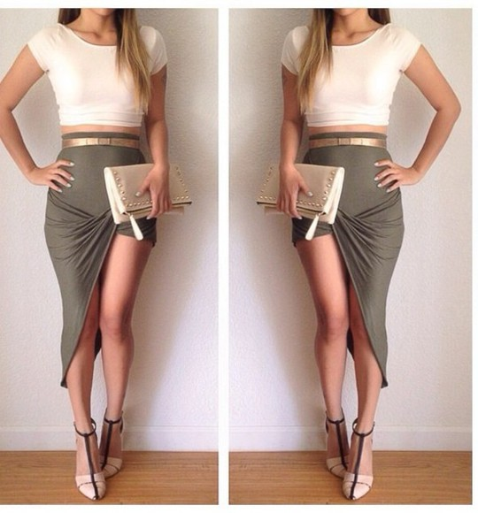 army green skirt cut off skirt