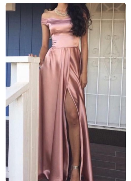dress pink pink dress formal prom dusty rose long dress homecoming gown satin satin dress silk silk dress off the shoulder