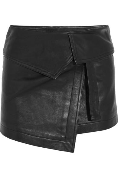 Hutt leather wrap mini skirt
