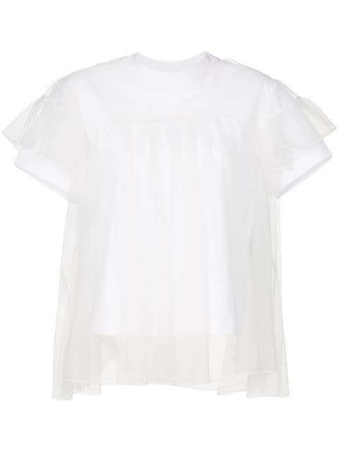 Shushu/Tong Tulle Layered Crew Neck T-shirt - Farfetch