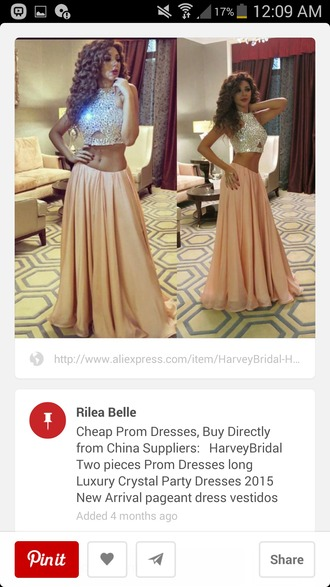 dress two piece dress set sparkle dress pink dress prim dress
