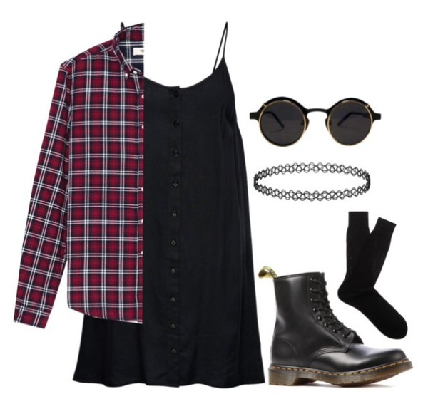 boots choker necklace checkered shirt checkered DrMartens sunglasses dress outfit plaid shirt black dress black choker socks