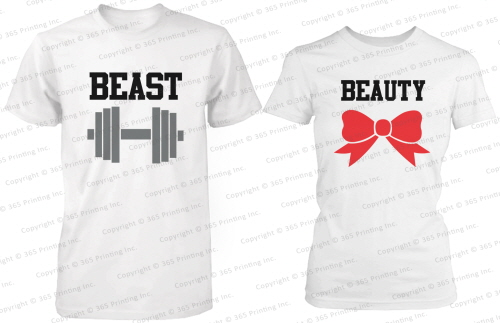 Beauty and The Beast His and Her Matching T Shirts for Couples in White | eBay