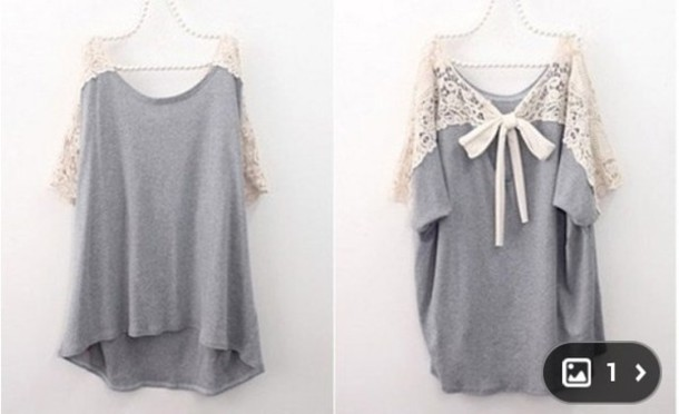 Shirt: cute sweaters, girly, lace dress, grey, summer outfits ...