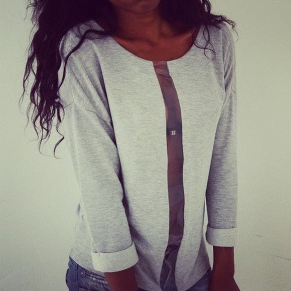 grey shirt shirt clothes sweater sweatshirt sweatshirts clothing