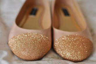 shoes ballet flats glitter gold sequins beige sparkle flats