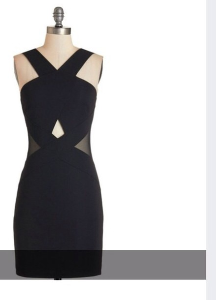 dress black dress mesh little black dress cut-out dress party dress bodycon