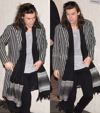 jacket stripes harry styles fall outfits scarf one direction coat