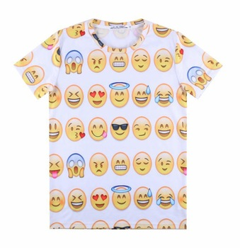 [sunny] fashion men/women 3d emoji t shirt printed smile faces tops tees t shirt men short sleeve expression tshirt a3