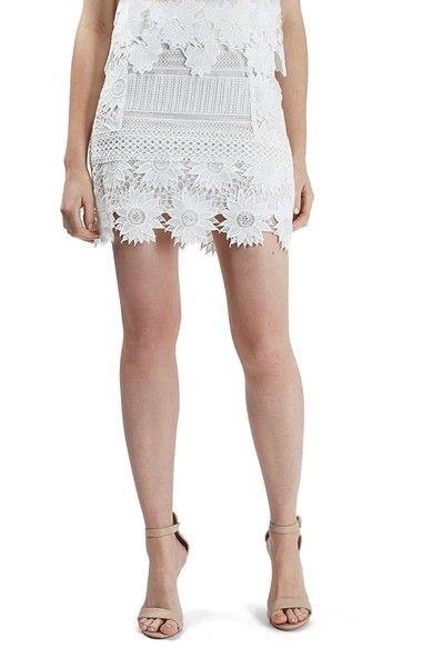 Topshop Cutwork Flower Lace Miniskirt (Regular & Petite) | Nordstrom