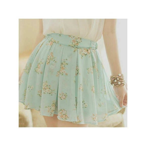 skirt flowers liberty white pink jewels blue skirt pastel bracelets