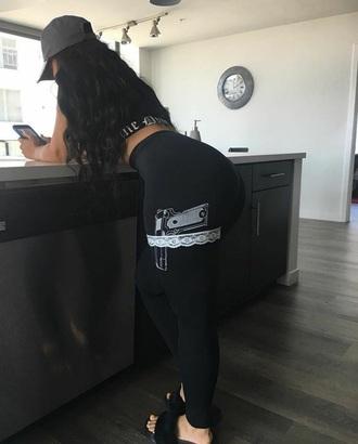 pants leggings black black leggings gun garter tumblr girl white lace black girls killin it black crop top