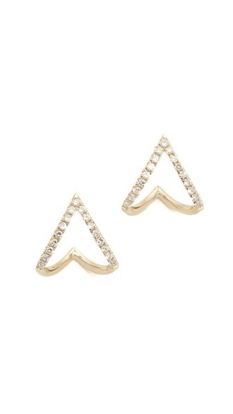 mini clear earrings stud earrings gold chevron jewels