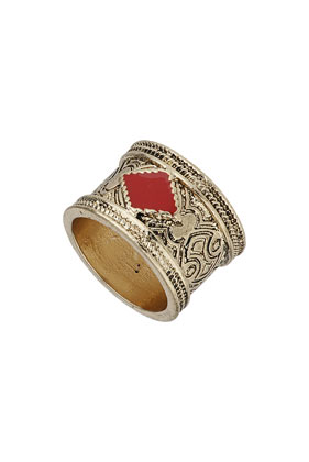 Engraved Red Diamond Band Ring - Jewellery  - Bags & Accessories  - Topshop