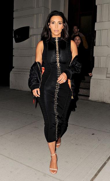 Front Embellished Midi Bandage Dress Black