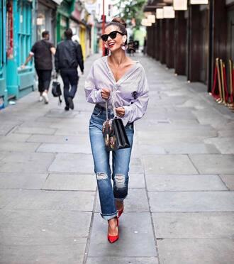 shirt black sunglasses tumblr striped shirt stripes denim jeans blue jeans pumps pointed toe pumps sunglasses vetements