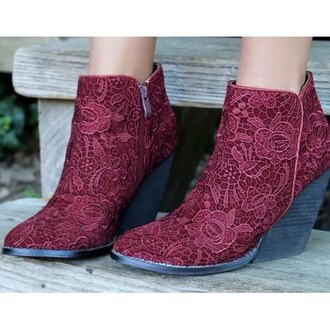 amazing lace burgundy shoes lace shoes ankle boots wedges fall accessories shoes burgundy accessories