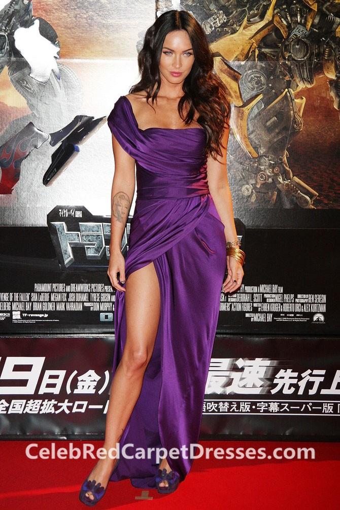 Megan Fox One-Shoulder Purple Slit Dress Transformers Premiere