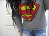 sweater,superman,grey,crewneck,sweatshirt