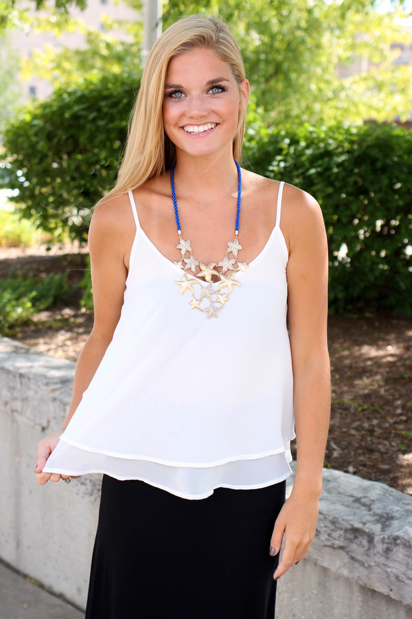 loose fit tank loose tank top tier top cute top ivory skirt