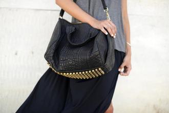 bag shoulder bag studs gold studs leather bag