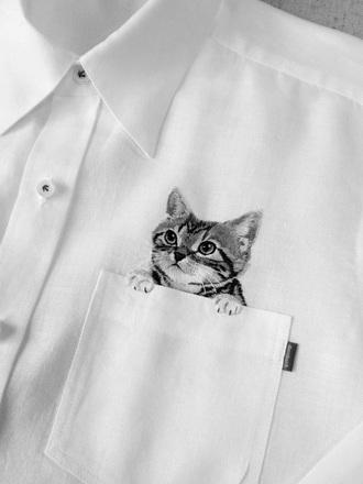 cats pocket shirt cute white kitty original clothes blog kitten