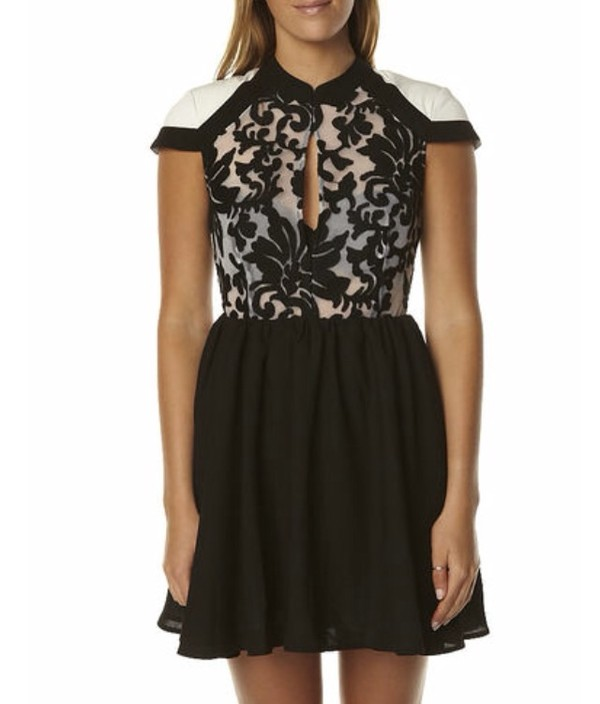 dress black white lace