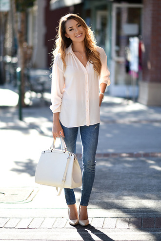 hapa time blogger bag shoes jewels blouse jeans
