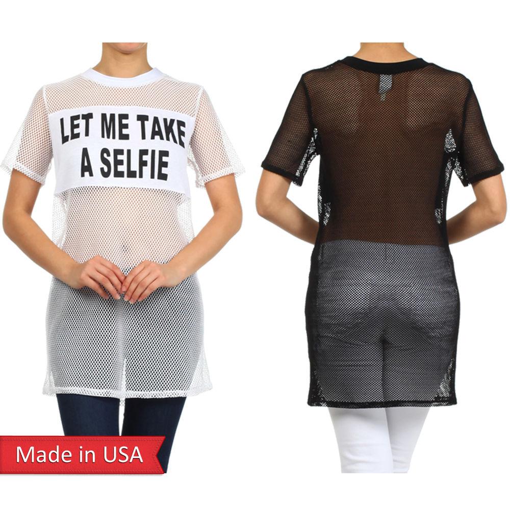 New Let Me Take A Selfie Sexy Women Mesh See Through Long Tunic Top Shirt USA